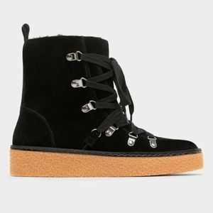 59b7ec991694a Zara Black Suede Winter Boots with Rubber Bottom